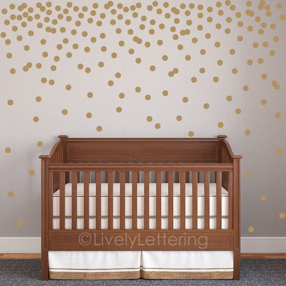 Mini Polka Dot Decal Set Circle Wall Decals - Gold dot wall decals nursery