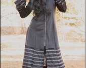 Jacket - Steampunk - Hooded Coat - Bohemian Gypsy - Princess Pixie - Burning Man - Boiled Wool - Boheme - Grey - Black - Size Medium