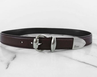 GUCCI Leather Belt Dark Brown Silver Hardware Womens Thin Heavyweight Authentic Made in Italy 85/34