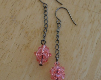 Swarovski Crystal Rose Peach Cluster Chain Earrings