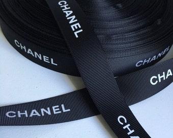 "CHANEL Grosgrain Ribbon 7/8"" Black and White  -"