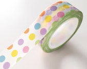 Dots Washi Tape Colorful DOTS Decor masking tape Yellow, Purple orange blue green pink Polka Dots too 15mm