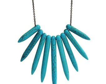 Turquoise Fan Necklace, Tribal Jewelry, Southwestern Jewelry, Native American