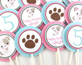 Girl Puppy Party Cupcake Toppers, Puppy Birthday Cupcake Toppers, Puppy Party Decorations - SET OF 12