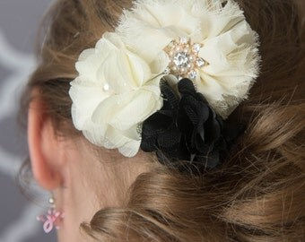 black hair clip, ivory hair clip, cream hair clip, gold embellishment, wedding hair clip, bridal hair clip, flower girl gift, birthday gift