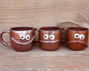 Pick Your Mood Face Mugs. Happy Sad Neutral Coffee Cups. Stoneware Pottery. Cinnamon Red Set of Mugs. Stoneware Ceramic Drinkware.