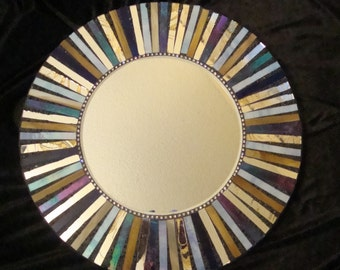 STARBURST MOSAIC MIRROR, Large Round Mosaic Mirror, Iridescent blues, Silver, Gold, Tan, Beige