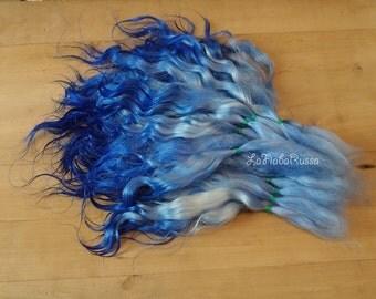 Doll Hair extra long 9 -11 in blue ombre Combed Mohair locks fiber/ reroot/ Reborn/ Lati Doll/ Pukifee / lafiabarussa