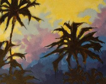 Acrylic on Canvas Original Painting Palm Trees