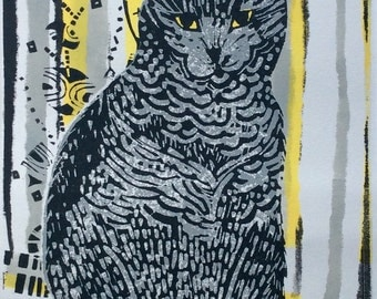 Seated Cat Linocut and Mono Original Print