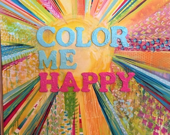 SALE! Color Me Happy - Original Painting by MaryLea Harris