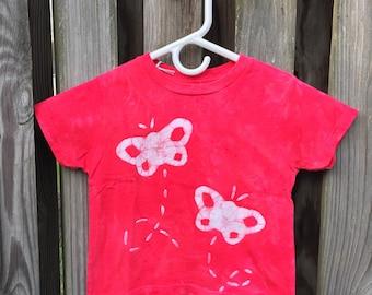 Kids Butterfly Shirt (3T), Girls Butterfly Shirt, Boys Butterfly Shirt, Red Butterfly Shirt, Batik Kids Shirt, Red Butterflies Shirt