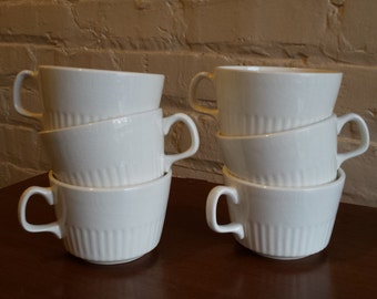 Set of 6 Vintage MCD- USA  White Porcelain Cups