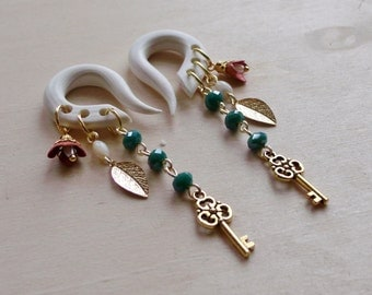Gold Skeleton Key Charmed Gauged Earrings with Vintage Coral Blossoms & Teal Crystals