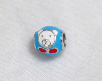 sterling silver True or baby blue enamel white bear red bow for pandora or similar slide charm bracelet jewelry adoption center