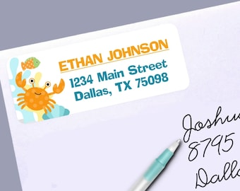 Return Address Labels, Under the Ocean, Sea Creatures, Crab, Fish, Aqua, Yellow, Green, 30 Labels to the Sheet