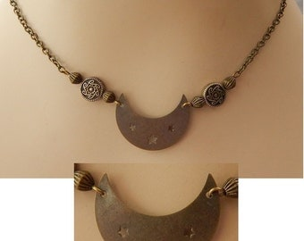 Gold Moon Pendant Necklace Jewelry Handmade NEW Accessories Fashion Beaded Celtic Knot