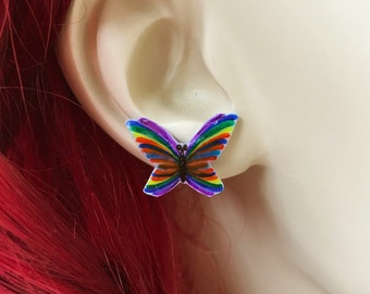 Rainbow Butterfly Earrings, Handmade Butterfly Earrings, Bridal Party Lesbian Wedding Jewelry, Shrink Plastic Jewelry, Gift For Girlfriend