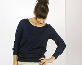 Pocket Pullover Eco Top / Long sleeve BAMBOO rib pullover sweatshirt top with pockets / Marine Navy Blue & Deep Plum
