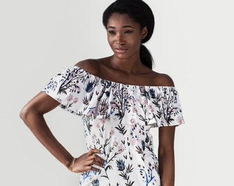 Flutter Top Shift Dress in Royal Blue, Pale Pink and Black on White 'Thistle'