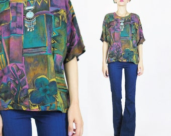 1980s Abstract Print Blouse Brush Strokes Abstract Floral Blouse Short Sleeve Shirt Womens Multi Color Art Flowers Pullover Top (M) E167