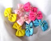 hair clips, baby hair clip, pink hair clip, yellow hair clip, bow clip, blue hair clip, hair clip set, baby gift set, 8 hair clips