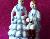 Antique Porcelain Victorian Couple  Figurines / Boy and Girl Figurines