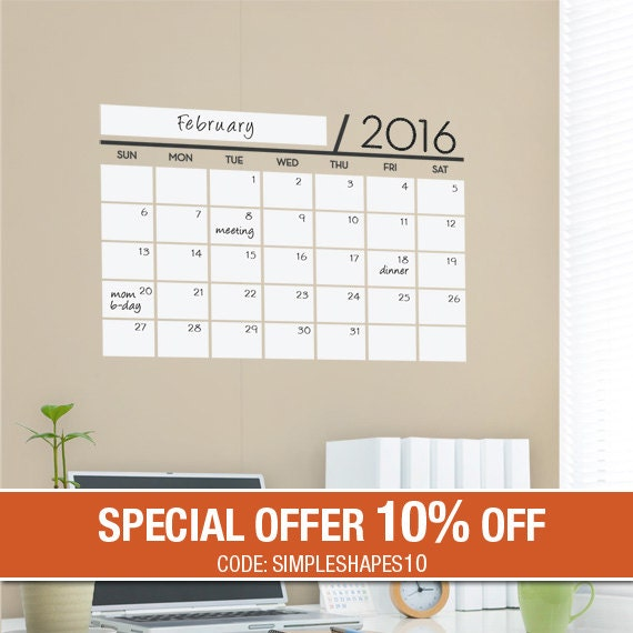 Unique Dry Erase Board Decal - Wall Calendar - Vinyl Wall Sticker