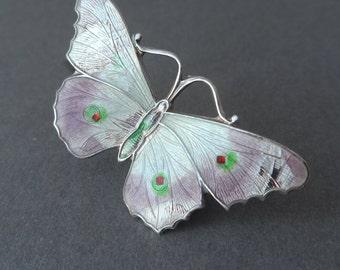 S&Co Art Deco Hallmarked Silver Guilloche Enamel Butterfly Brooch