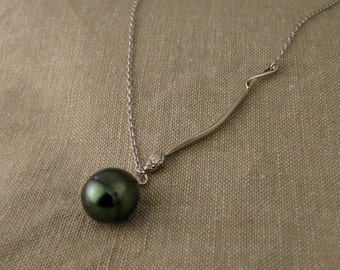 14K Tahitian Pearl Drop & Snake Necklace