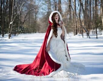 Victorian Winter Medieval Bridal cape Claret / Ivory Satin 52/73 inch with Fur Trim Wedding Cloak Handmade in USA