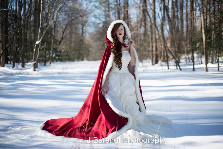 Victorian Winter Medieval Bridal Cape Claret / Ivory Satin