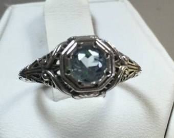 Aquamarine Ring in Petite Antique Look Sterling Silver Setting Size 5 1/2