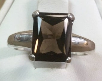 Smokey Topaz Emerald Cut Stone set in Sterling Setting Size 8