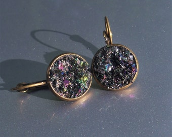 Carborundum Crater Brass Druzy French Earrings