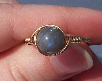 LG Labradorite 14k Yellow Gold Fill Wire Wrapped Stone Ring
