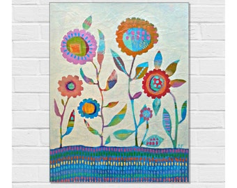 Painting Original Acrylic Canvas / Contemporary Art / 18 x 14 inches / Canvas Board / Spring Flowers Painting / Zoe Ford