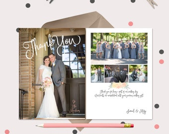 Fun Wedding Thank You Cards · Wedding thank You Magnets · photo collage and pre-printed thank you message