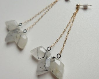 Geometric Trapeze Earrings - Mixed Metal Earrings with Rutilated Quartz and Gold Filled Posts