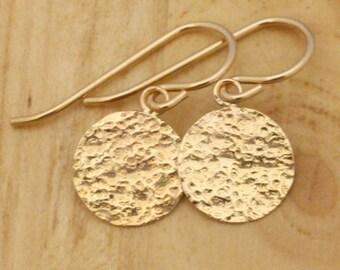 Gold Earrings - Delicate Earrings - Dainty Earrings - Everyday Earrings - Simple Earrings - Gold Dangle Earrings - Gold Circle Earrings