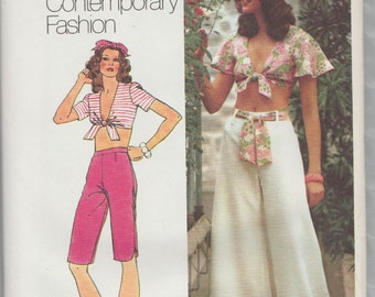 Simplicity 5695 / Vintage 70s Sewing Pattern / Bra Top And Pants Shorts / Size 10