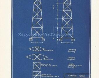 vintage 40s industrial blueprint blue print illustration drawing sketch construction engineer architect image wall art decor standard tower