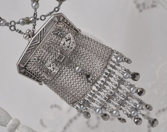 Just a Little Something / One of a Kind Chain Mail Mesh Coin Purse Solid Silver Beaded Flapper Bag Wristlet