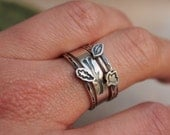 Twig Leaf Silver Stacking Rings Nature Jewelry Natural Tree Ring Leaf Maple Oak Branch Ring Woodland Jewelry READY TO SHIP Unique Gift
