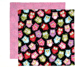 Kids Fabric Napkin, Cloth Lunch Napkin, Owls Napkin, Pink and Black, 1 double sided fabric napkin for kids
