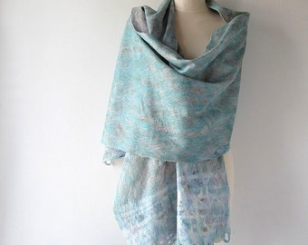 Felted scarf pastel scarf Cobweb felt shawl Serenity Women Wedding Airy scarf , Blue Teal Turquoise scarf, Light Lace Scarf ,  by Galafilc