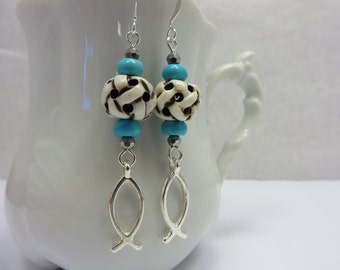 Turquoise Fish Earrings Carved Bone White Silver Christian Boho Free Shipping