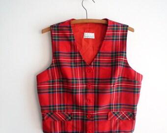 1970s Red Plaid Womens Vest Juniors Size 13 Sears Jr Bazaar, SALE