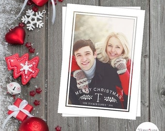 Photo Christmas Card - Christmas Photo Card - Photo Holiday Card - Christmas Greeting Card - Printable Digital Family Photo Card - MONOGRAM