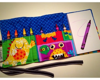 Crayon Roll Up - Holder - Organizer with Pad & Crayons - Monsters Blue